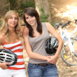 Girls mountain-biking — Stock Photo