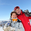 Portrait of mature couple in ski holidays — Stock Photo