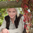 Stockfoto: Nice blondie in park.