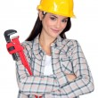 Stock Photo: Womwith adjustable wrench
