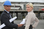 Two architects arriving at site — Stock Photo