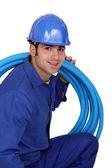 英俊的水管工的肖像 — 图库照片