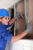 Female electrician — Stock Photo