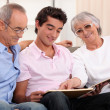 Grandparents spending time with their grandson — Foto de Stock