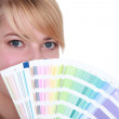 Young woman with swatches — Stock Photo #8421089