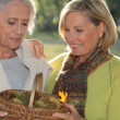 A mid age blonde woman and an older woman holding a wickerwork basket full — Foto de Stock