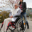 Young woman pushing an elderly lady in a wheelchair — Stock Photo