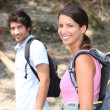 Stock Photo: Couple on mountain hike