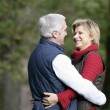 Married couple hugging in park — Stock Photo