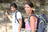 Couple on a mountain hike — Stock Photo
