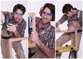 Collage of a carpenter at work — Stok fotoğraf