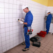 Stock Photo: Electricians working