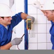 Stock Photo: Couple of electricians working