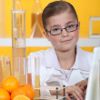 A little girl in a lab. — Stock Photo
