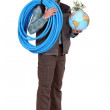 Craftsman holding a hose and a globe with a green plant on it — Stock Photo #8457599