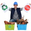 Tradesmencouraging recycling — Stock Photo #8457632