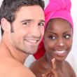 Couple in the bathroom — Stock Photo