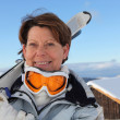 Stock Photo: Senior woman on a ski vacation