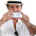 Man taking a photo — Stock Photo