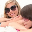 Portrait of two girls on the beach — Stock Photo #8459947