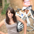 Stock Photo: Teenagers cycling