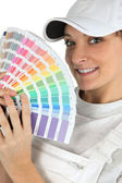 Woman with a color chart — Stock Photo