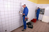 Electricians working — Stock Photo