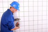 Blue collar at work — Stock Photo