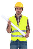 Foreman standing on white background — Stock Photo