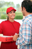 Portrait of a delivery girl — Stock Photo