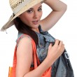 Girl with straw hat on white background — Stock Photo #8460120