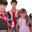 Children with backpacks — Stock Photo