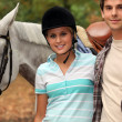 Stock Photo: Young horseback riders