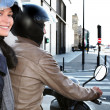 Trendy couple on moped — Foto de stock #8465610