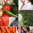 Mosaic of couple with variety of vegetables - Stock Photo