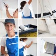Collage of a young woman painting — Stock Photo
