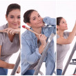 Stock Photo: Multiple shot of wompainting