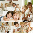 Happy family at home — Stok fotoğraf