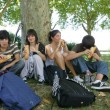 Teenager's picnic in the park — Stock Photo