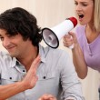 Man disturbed by hysterical blonde — Stock Photo #8469905
