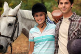 Young horseback riders — Stock Photo