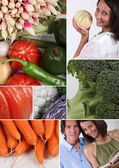 Mosaic of couple with variety of vegetables — Stock Photo