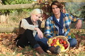 Couple gathering apples — Stock Photo