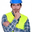 Tradesman staring intently at the camera — Stock Photo