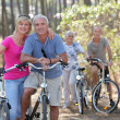 Two elderly couples on bike ride - Stock Photo