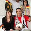 Group of German soccer supporters — Stock Photo