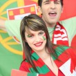 Portuguese football supporters - Stock Photo