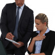 Boss checking something with assistant — Stock Photo