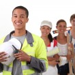 Group of workers smiling - Stock Photo