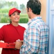 Stock Photo: Portrait of delivery girl